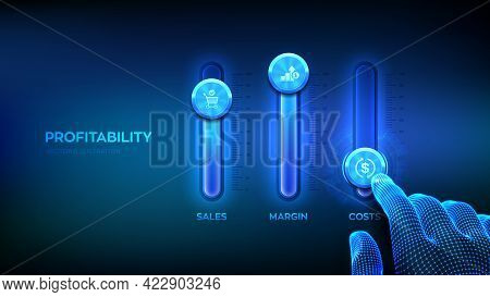Profitability Concept. Business Process Control Panel For Sales, Margin And Costs. Wireframe Hand Ad