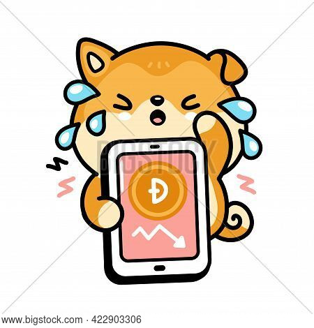 Cute Sad Cry Akita Inu Dog With Dogecoin Down Chart In Smartphone Phone Character. Vector Hand Drawn