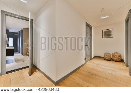 Bright White Walls And Interior Details Of Modern Corridor
