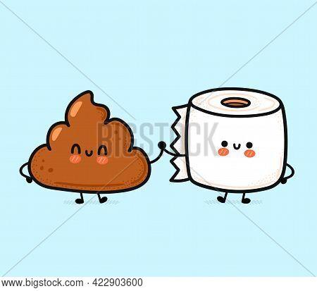 Cute Funny Happy Poop And Toilet Paper Friends. Vector Hand Drawn Cartoon Kawaii Character Illustrat