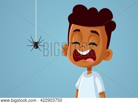 Little Scared African Boy Suffering From Arachnophobias