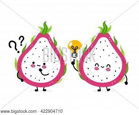 Cute Funny Dragon Fruit With Question Mark And Idea Lightbulb. Vector Hand Drawn Cartoon Kawaii Char