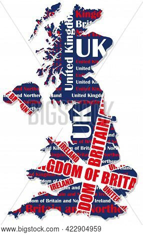 Map Of Uk Composed Of The Shape Of The Land, The Country Name, And The Colors Of The National Flag.