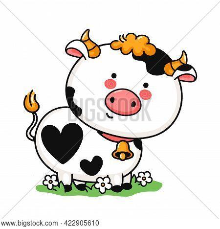 Cute Funny Little Cow On Meadow. Vector Hand Drawn Cartoon Kawaii Character Illustration Icon. Isola