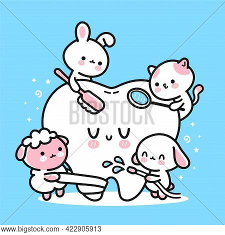 Cute Funny Animals Dentists Cleaning Patient Tooth. Vector Hand Drawn Cartoon Kawaii Character Illus