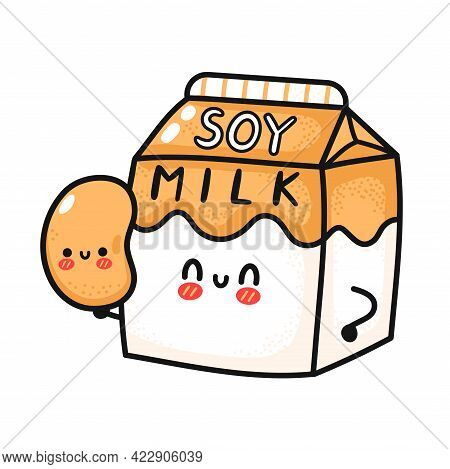Cute Funny Soy Milk Box Hold Bean. Vector Hand Drawn Cartoon Kawaii Character Illustration Icon. Iso