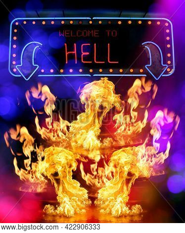 Welcome To Hell Neon Sign With Flames Compoet
