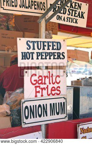 Food Vendor At County Fair Garlic Fries And Onion Mum