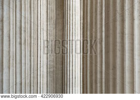 High Marble Columns As Background, Architectural Design In Style Of Classicism. Architectural Patter