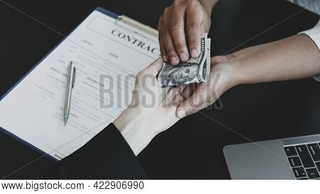 Government Officials Hand Receiving Bribe Money From Business Man The Concept Of Corruption And Anti