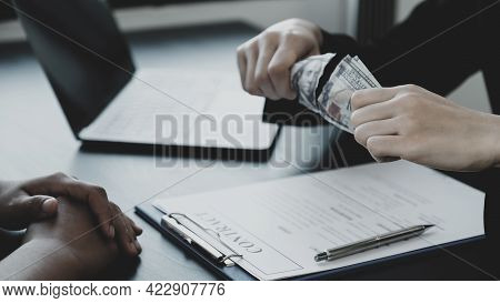 Government Officials Hand Tear The Dollar Bill  Refusing Money To Take The Bribe Money From Business