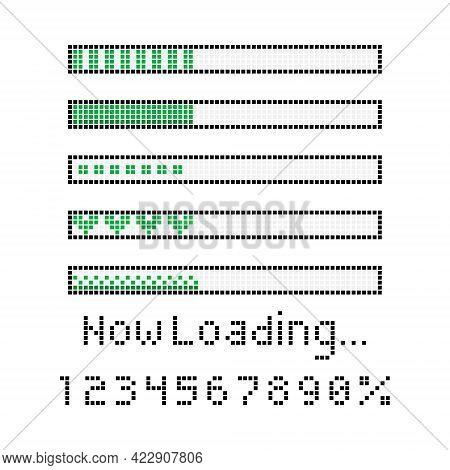 Collection Set Of Retro Game 8 Bit Line Pixel Progress Waiting Bar With Now Loading Word, Number And