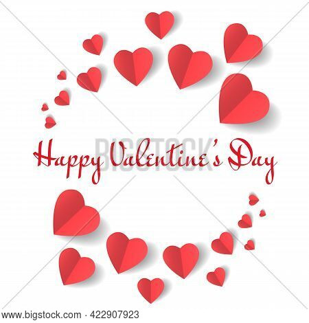 Craft Valentines Day Paper Hearts Design. Vector Valentine Concept Illustration, Heart Graphic For B