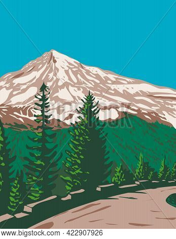 Wpa Poster Art Of South Face Of Mount Rainier, Tahoma Or Tacoma With Kautz Ice Cliff Located In Moun