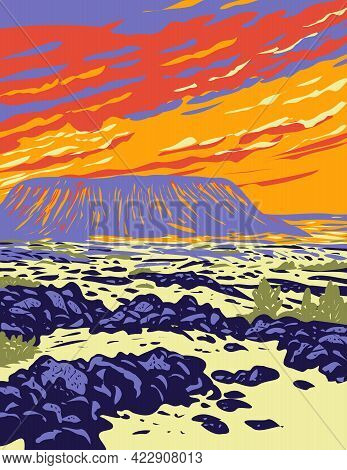 Wpa Poster Art Of Amboy Crater, An Extinct Cinder Cone Volcano In Mojave Desert Within Mojave Trails