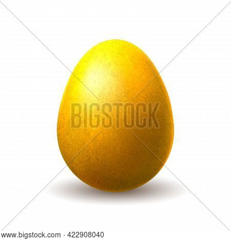 Gold Chocolate Egg. Golden Metal Foil Feast Gift Isolated On White For Business Design, Macro Easter