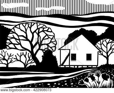 Stencil Illustration Of A Cajun House, Creole Cottage Or Acadian Style Dwelling Or Architecture On I