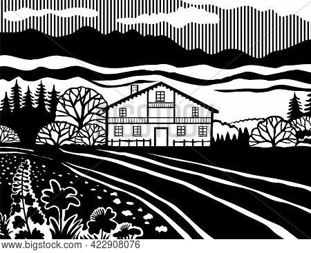 Stencil Illustration Of A Swiss Chalet Style House In The Meadows Of Switzerland On Isolated Backgro