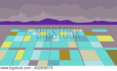 Wpa Poster Art Of A Separation Pond At A Lithium Extraction Mine With Mountains In Background Done I