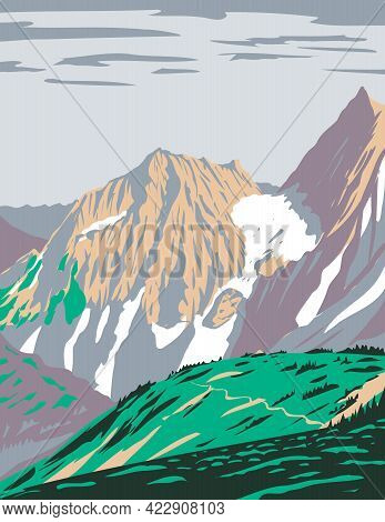 Wpa Poster Art Of Cascade Pass Or Skagit Pass With Yawning Glacier Over The Northern Cascade Range L