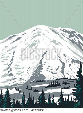 Wpa Poster Art Of Emmons Glacier On Northeast Flank Of Mount Rainier Located In Mount Rainier Nation