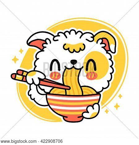 Cute Funny Dog Eat Noodles From Bowl. Vector Hand Drawn Cartoon Kawaii Character Illustration Icon.