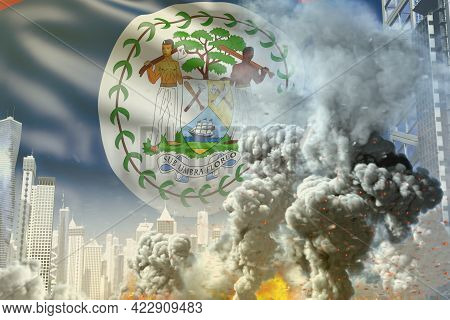 Big Smoke Column With Fire In The Modern City - Concept Of Industrial Blast Or Terroristic Act On Be