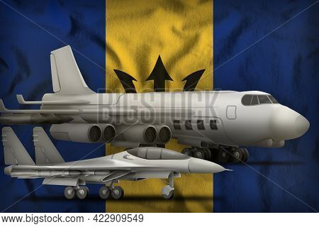 Air Forces On The Barbados Flag Background. Barbados Air Forces Concept. 3d Illustration