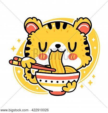 Cute Funny Tiger Eat Noodles From Bowl. Vector Hand Drawn Cartoon Kawaii Character Illustration Icon