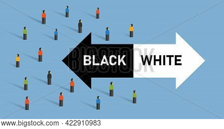 Black And White Judgement By Society Left Right Wrong Decision Choice Different Path