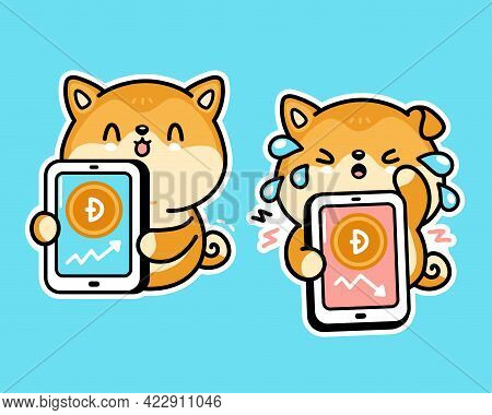 Cute Funny Akita Inu Dog With Dogecoin Charts In Smartphone Phone Character. Vector Hand Drawn Carto