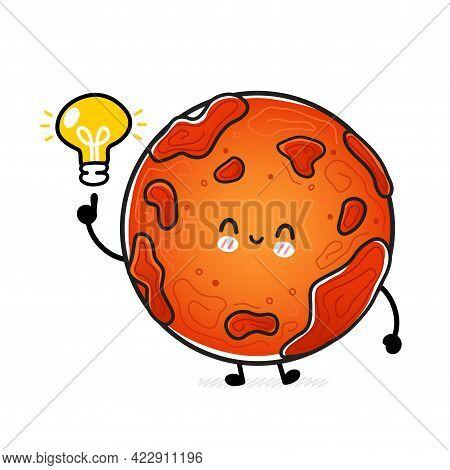 Cute Funny Happy Mars Planet With Idea Light Bulb. Vector Hand Drawn Cartoon Kawaii Character Illust
