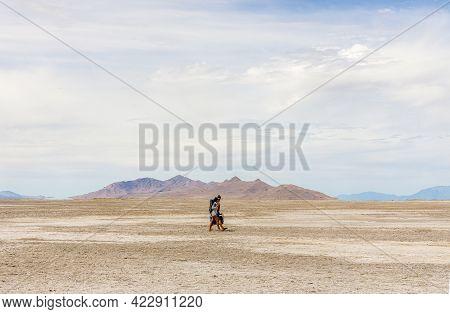 Salt Lake City - May 29, 2021: Panoramic Spring Landscape At Great Salt Lake State Park In Utah With