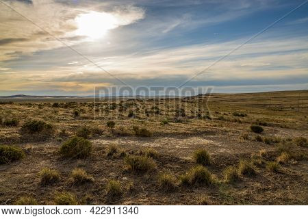 Panoramic Spring Landscape Along The I-80 Highway In Utah