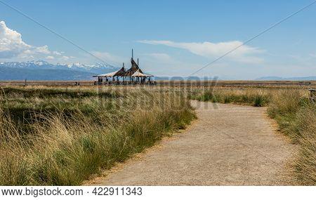 Panoramic Spring Landscape At Great Salt Lake Shorelands Preserve In Utah