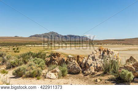 Panoramic Spring Landscape At Antelope Island State Park In Utah