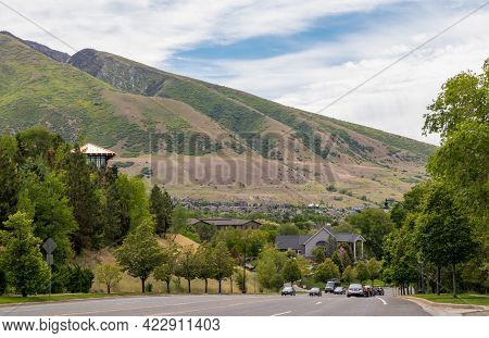 Residential Area With The Background Of The Mountains In Salt Lake City, Utah