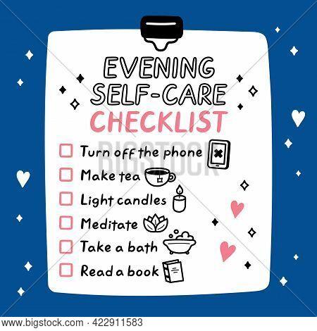 Cute Funny Evening Self-care To Do List, Checklist. Vector Hand Drawn Cartoon Kawaii Character Illus