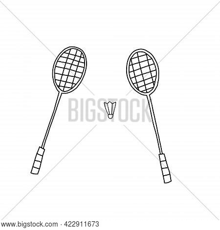 Hand Drawn Vector Illustration Of Two Crossed Badminton Racquets Or Rackets With Shuttlecock Birdie.