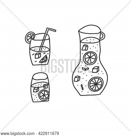 Hand Drawn Vector Illustration Of Lemonade Pitcher With Two Full Glasses Of Lemonade. Cartoon Abstra