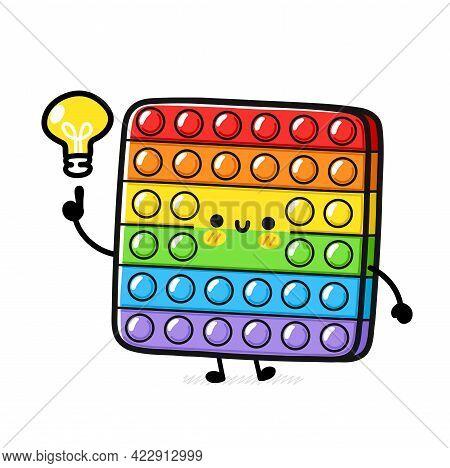 Cute Funny Pop It Fidget Sensory Toy With Idea Light Bulb. Vector Hand Drawn Cartoon Kawaii Characte