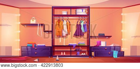 Modern Walk In Closet With Mess, Untidy Woman Clothes And Shoes On Wardrobe Shelves And Floor. Vecto
