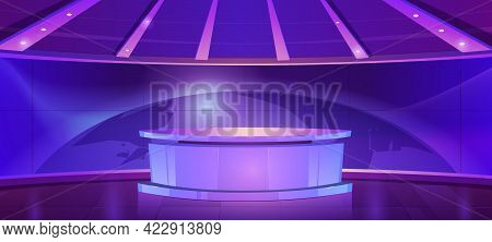 Tv News Studio, Television Broadcast Set Room With Round Table And Blue Screen With World Map. Vecto