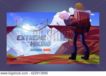 Extreme Hiking Cartoon Landing Page. Traveler Man With Map At Mountains, Travel Adventure. Tourist W
