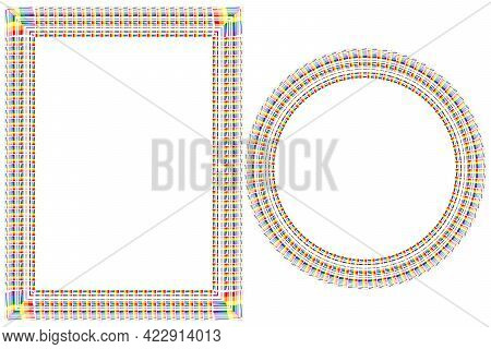 Flag Lgbt Icons, Round And Squared Frames. Template Border, Vector Illustration. Love Wins. Lgbt Sym