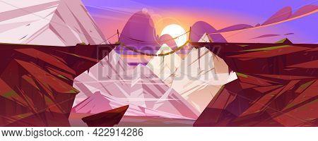 Suspended Mountain Bridge Hang Above Cliff, Snowy Rock Peaks Landscape Background. Beautiful Scenery