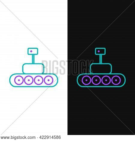 Line Mars Rover Icon Isolated On White And Black Background. Space Rover. Moonwalker Sign. Apparatus