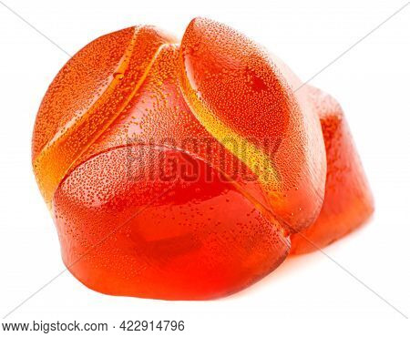 Red Marmalade Candy Is Isolated On A White Background.