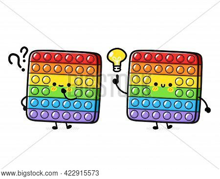 Cute Funny Pop It Fidget Sensory Toy With Question Mark And Idea Lightbulb. Vector Hand Drawn Cartoo