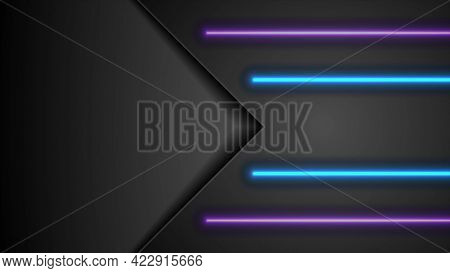 Black tech abstract background with blue and violet neon glowing light